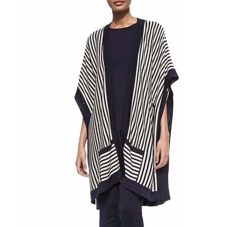 White Striped Open Kimono Cardigan by Misook in The Boss