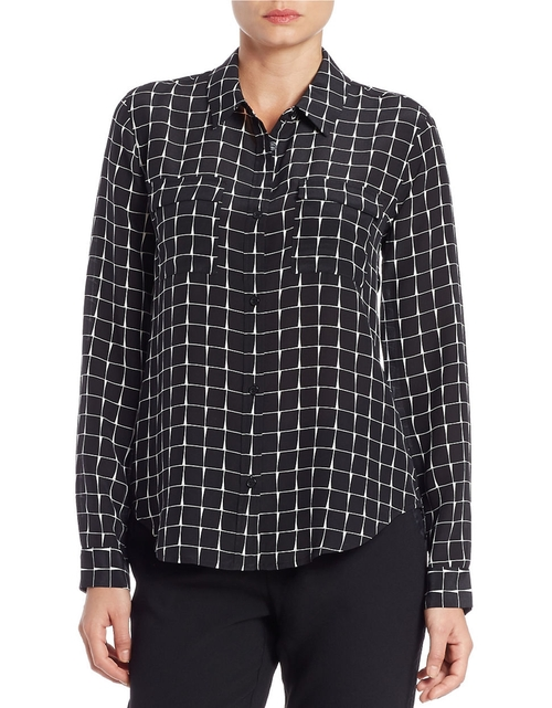 Grid Patterned Silk Shirt by Sanctuary in The Mindy Project - Season 4 Episode 13
