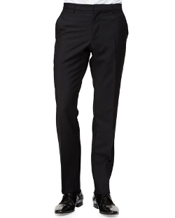 Flat-Front Wool/Mohair Trousers by Burberry London in The Second Best Exotic Marigold Hotel