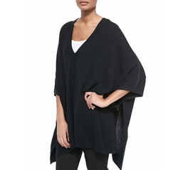 Cashmere V-Neck Leather-Trim Poncho by Vince in The Boss