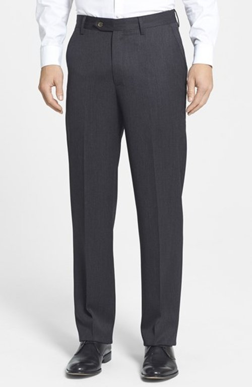 Flat Front Wool Gabardine Trousers by Berle in Focus
