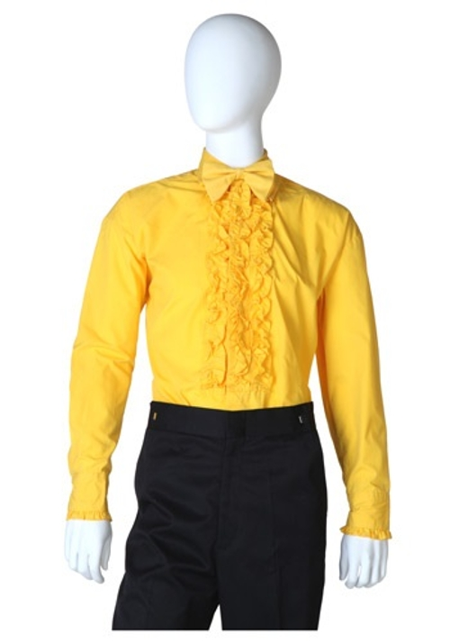 Yellow Ruffled Tuxedo Shirt by Halloween Costumes in Barely Lethal