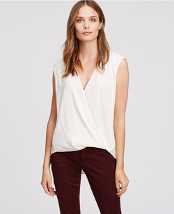 Petite Sleeveless Wrap Blouse by Ann Taylor in Miss You Already