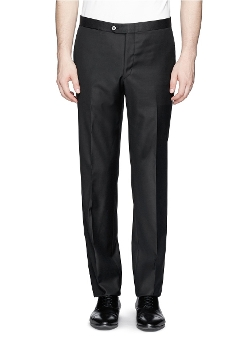 Grosgrain Trim Wool Pants by Isaia in Fight Club