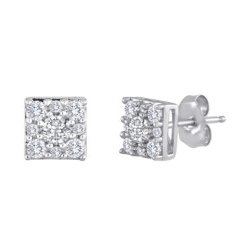 Diamond Sterling Silver Cluster Earrings by Diamond Blossom in Top Five