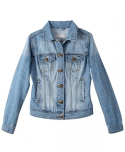 Washed Denim Jacket in Skinny and Cropped Fit by Chic Nova in If I Stay