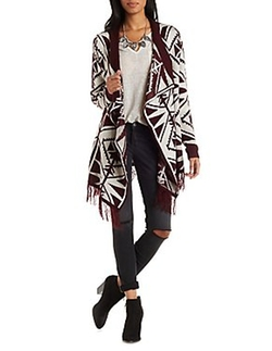 Geometric Print Cascade Cardigan by Charlotte Russe in Master of None