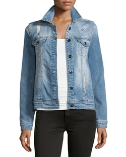 Glam Distressed Studded Denim Jacket by Nanette Nanette Lepore in Fuller House