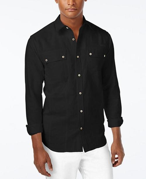 Men's Lightweight Linen Long-Sleeve Shirt by Sean John in The Notebook