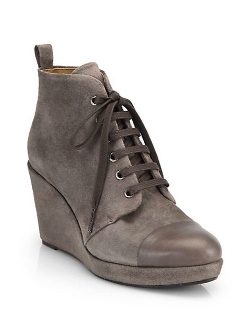 Henri Suede Lace-Up Wedge Ankle Boots by Coclico in While We're Young