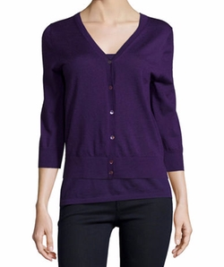 Cashmere V-Neck Cardigan by Neiman Marcus Cashmere Collection in Bridget Jones's Baby