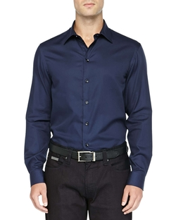 Textured Solid Dress Shirt by Armani Collezioni in Blackhat