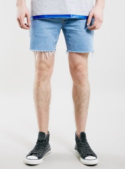 Light Wash Raw Edge Skinny Fit Denim Shorts by Topman in Wet Hot American Summer