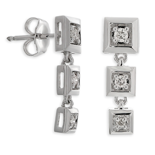 Diamond Square Drop Earrings by Ben Bridge in Suits