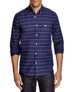 Stripe Slim Fit Button Down Shirt by Lacoste in Master of None