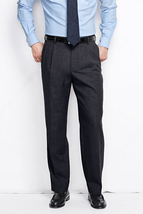 Men's Long Pleat Front Traditional Fit Year'rounder Wool Dress Pants by Lands' End in Hall Pass