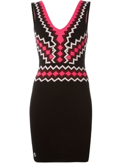 V-Neck Mini Dress by Philipp Plein in Elementary