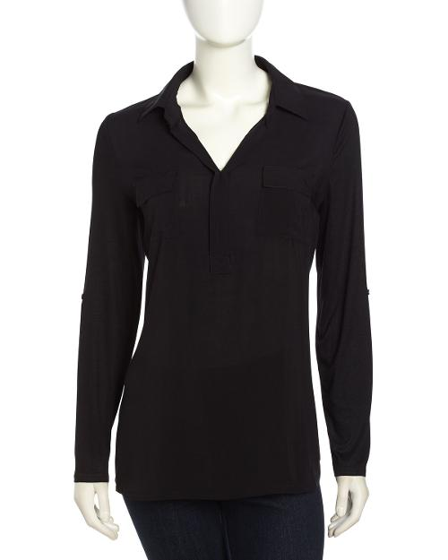 Long-Sleeve Button-Front Semi-Sheer Blouse by Neiman Marcus in Tammy