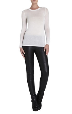 Agda Crewneck Long-Sleeve Shirt by BCBGMAXAZRIA in Quantico