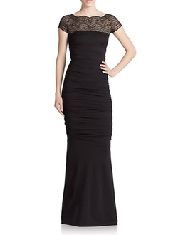 Lace-Top Illusion Gown by La Petite Robe Di Chiara Boni in Arrow