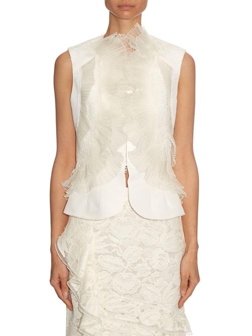 Ivory Organza & Lace Ruffle Detail Silk Faille Vest by Oscar De La Renta in Suits - Season 6 Episode 5
