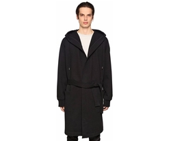 Long Hooded Cotton Blend Coat by Diesel Black Gold in Black Panther