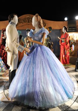 Custom Made Electric-Blue WIde Skirt Ball Gown (Cinderella) by Sandy Powell (Costume Designer) in Cinderella