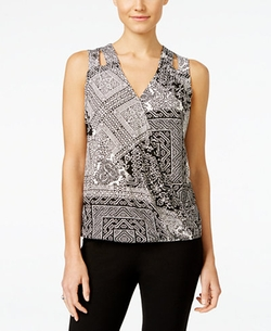 Printed Surplice Top by INC International Concepts in Mistresses