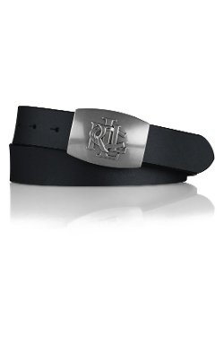 Debossed Logo Plaque Leather Belt by Lauren Ralph Lauren in Begin Again