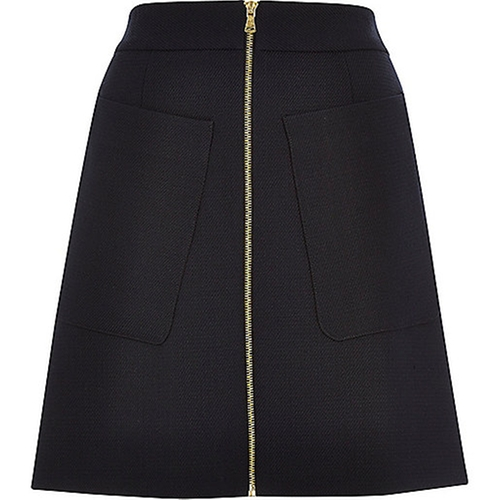 Navy RI Studio Wool A-Line Skirt by River Island in How To Get Away With Murder - Season 2 Episode 8