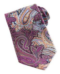 Quindici Paisley-Print Silk Tie, Mauve by Ermenegildo Zegna in Focus