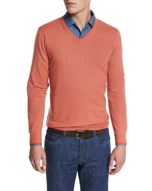 Cashmere V-Neck Sweater by Loro Piana  in The Wolf of Wall Street