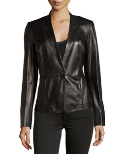 Seamed Lambskin One-Button Blazer by Lafayette 148 New York in Miss You Already