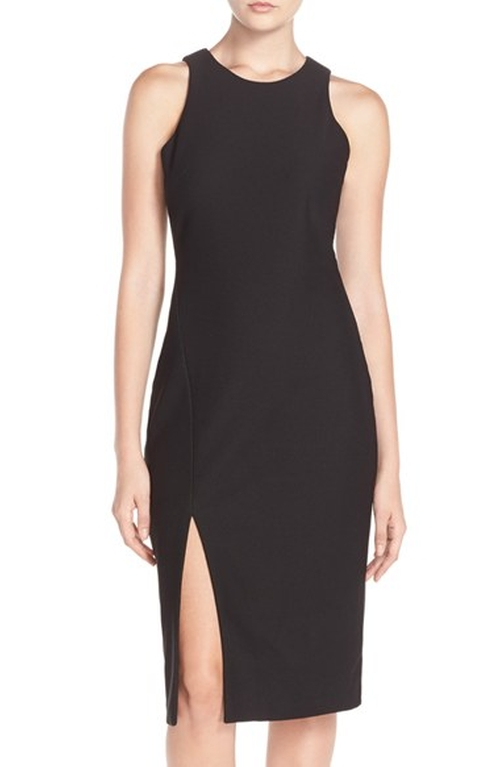 Front Slit Woven Sheath Dress by Charles Henry in How To Be Single