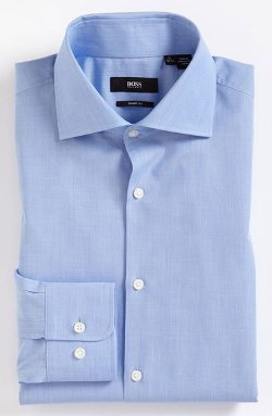 'Miles' Sharp Fit End-on-End Dress Shirt by Hugo Boss in Crazy, Stupid, Love.