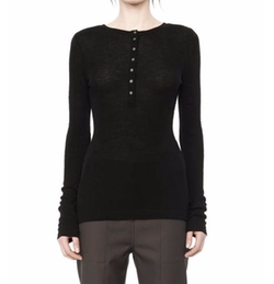 Ribbed Long Sleeve Henley Top by Alexander Wang in Power