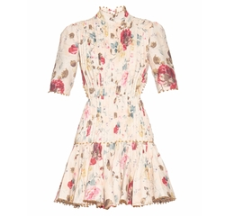 Mischief Floral-Print Pleated Linen Dress by Zimmermann in Empire