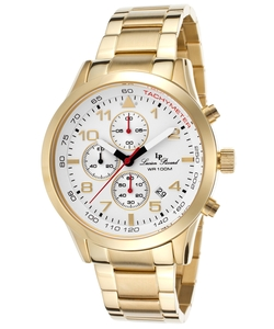 Vertex Chronograph Gold-Tone Steel White Dial Tachymeter Watch by Lucien Piccard in Black-ish