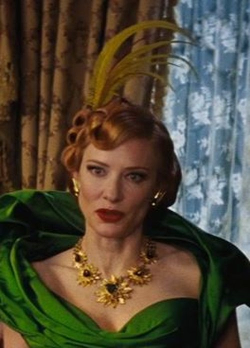 Custom Made Gold Floral Necklace (Lady Tremaine) by Sandy Powell (Costume Designer) in Cinderella