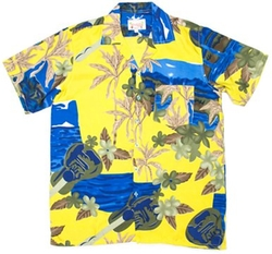 Men's Tropical Hawaiian Ukulele Print Aloha Shirt by On Shore in Spring Breakers