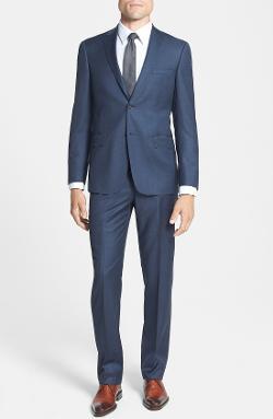 'Los Angeles' Trim Fit Blue Wool Suit by Hart Schaffner Marx in Laggies