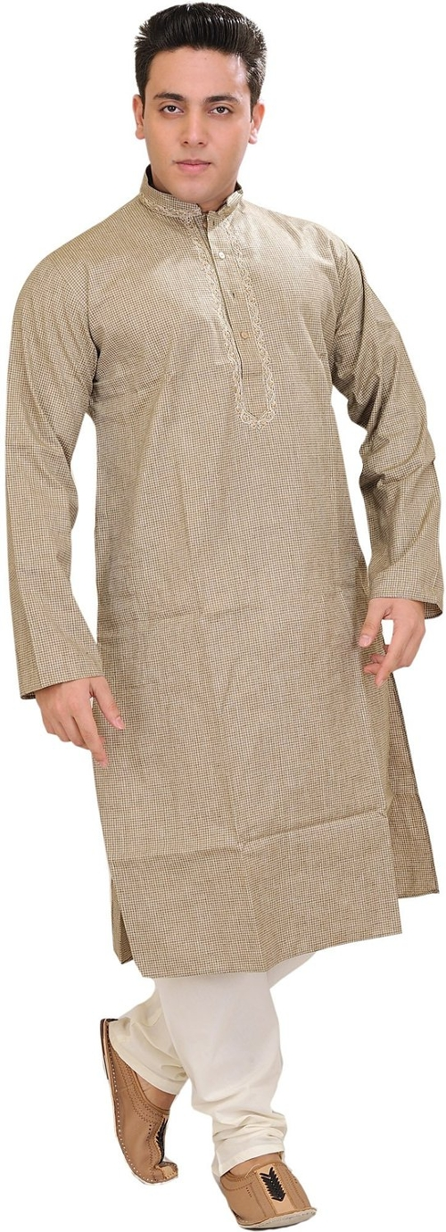 Woven Checks Kurta Pajama Set by Exotic India in The Second Best Exotic Marigold Hotel