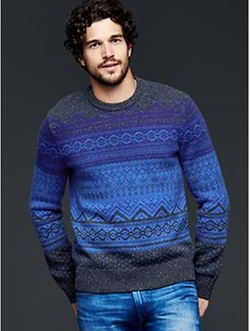 Lambswool Fair Isle Crew Sweater by Gap in Black-ish