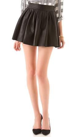 Box Pleat Leather Skirt by Alice + Olivia in Beyond the Lights
