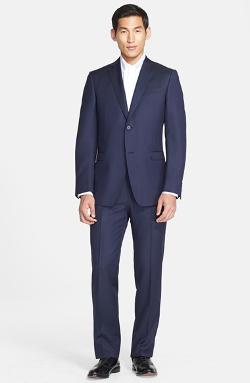 Trim Fit Navy Pin Dot Wool Suit by Z Zegna in Mortdecai
