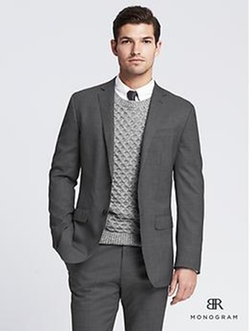 BR Monogram Grey Pinpoint Italian Wool Suit Jacket by Banana Republic in Poltergeist