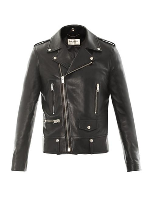 Leather Motorcycle Jacket by Saint Laurent in Yves Saint Laurent