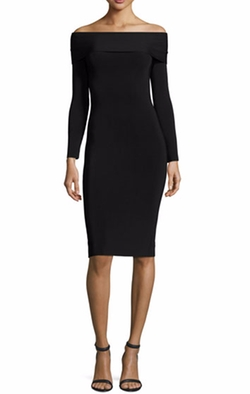 Off-the-Shoulder Fitted Ponte Dress by T by Alexander Wang in Power