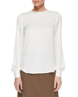 Eri Long-Sleeve Silk Blouse by Theory in Empire