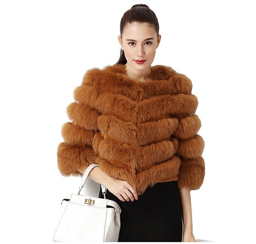 Real Fox Fur Short Coat by Top Fur in Vinyl